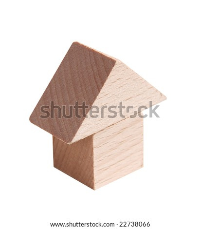 Wooden model of house on isolated white background