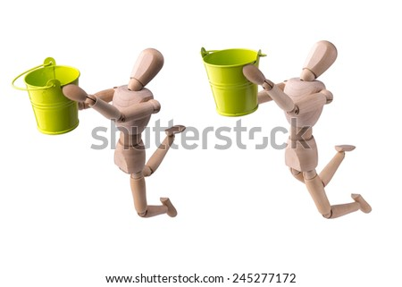 Wooden model of the person with a bucket in hands on the white isolated background - stock photo