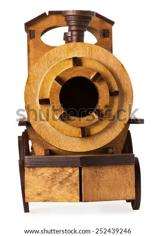 wooden model of train isolated on the white background - stock photo