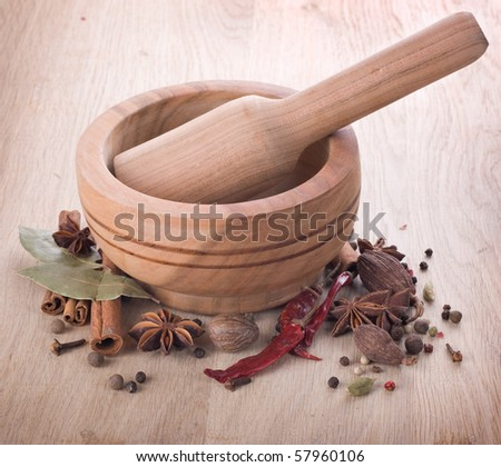 Wooden Mortar and Spices - stock photo