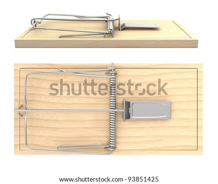 Wooden mouse trap, side and top view, isolated on white background - stock photo
