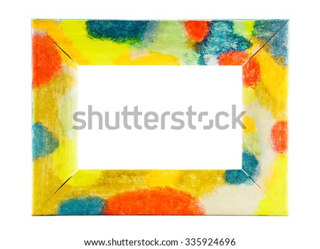 Wooden multicolored frame isolated on white background