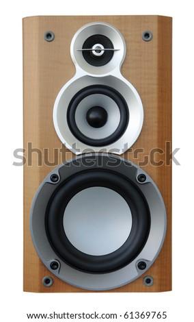 wooden music speaker isolated on white, background - stock photo