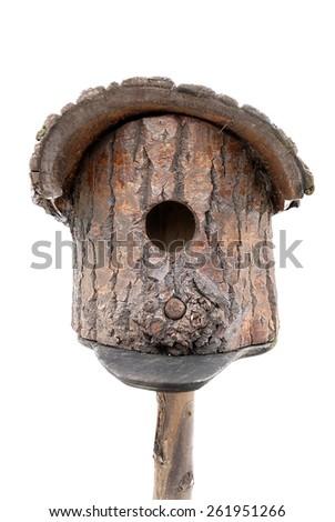 Wooden nesting box isolated on white background - stock photo