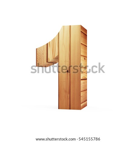 Wooden Numbers isolated on white background (Number 1). 3D Rendering