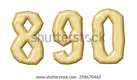 Wooden numeral set isolated on white background. - stock photo