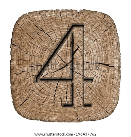 Wooden numeric collection. Number 4. digits Carved in wood, showing growth rings