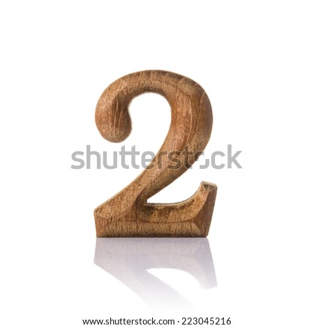 wooden numeric with shadow isolated on white background, number two,2.
