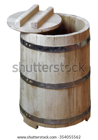 Wooden oak barrel with a lid and iron rims on a white background                                - stock photo