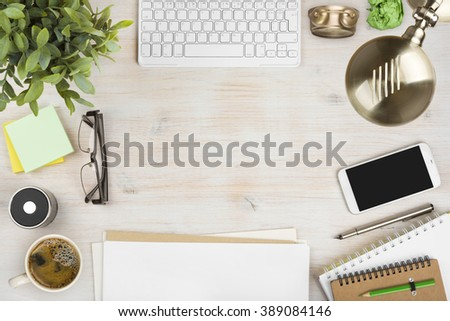 Delighful Wooden Office Desk Top View With Stationery And Computer Accessories O On Design