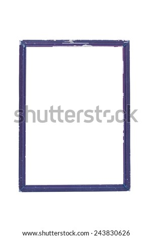wooden old black picture frame isolated on white background