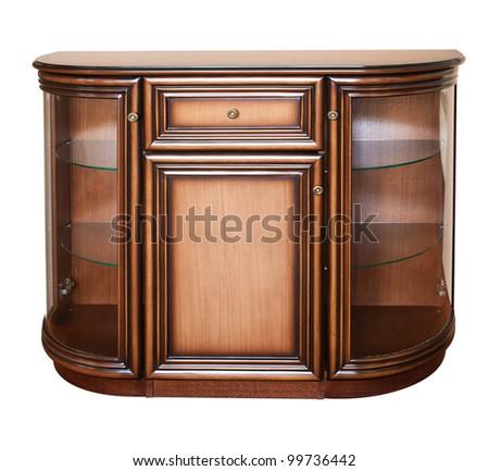 Wooden old stile bureau. Isolated on white - stock photo