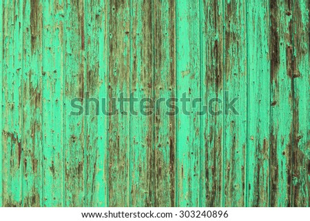 Wooden old turquoise colored background. Blue green shabby chic texture - stock photo