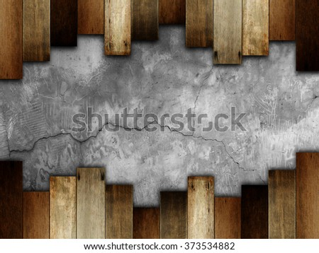 wooden on stone wall for background. - stock photo