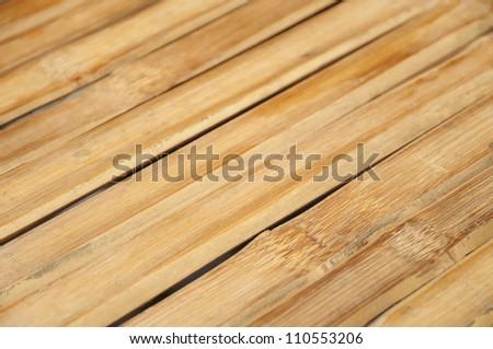 Wooden outdoors table under sun - stock photo