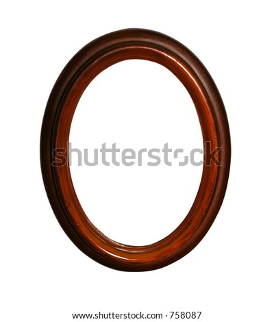 Wooden oval frame with clipping path for easy masking - stock photo