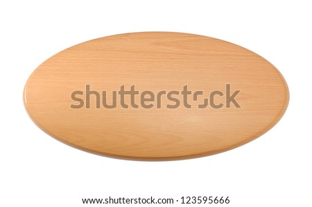 Wooden oval label isolated on white background