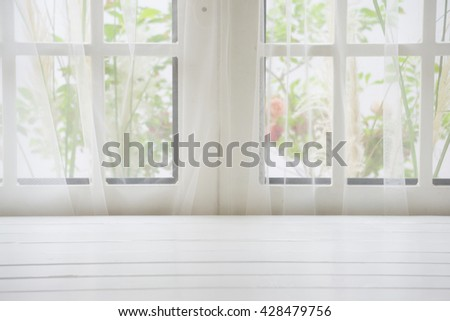 Wooden over summer window background