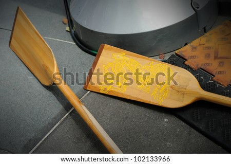 Wooden paddles - stock photo