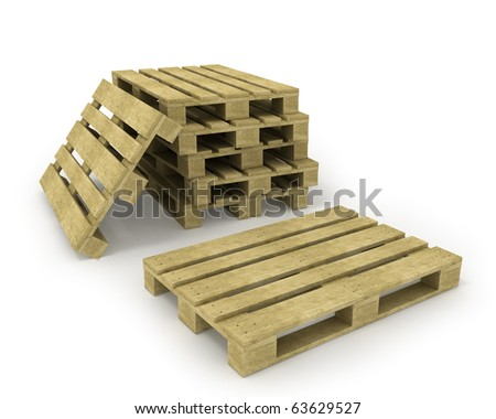 Wooden pallet and stack of pallets isolated on white - stock photo
