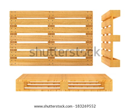 Wooden pallet. 3d rendered illustration. Isolated on white background. Clipping path included - stock photo