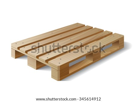 Wooden pallet. Isolated on white.  - stock photo