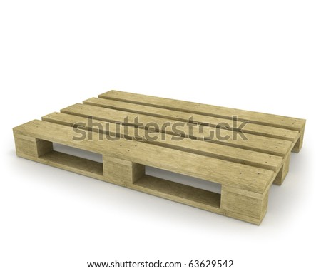 Wooden pallet isolated on white - stock photo