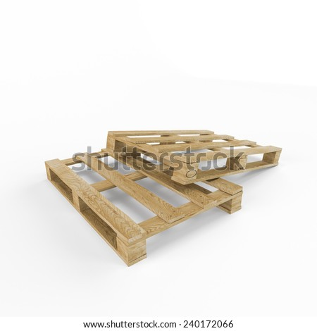 Wooden pallet, isolated on white background  - stock photo