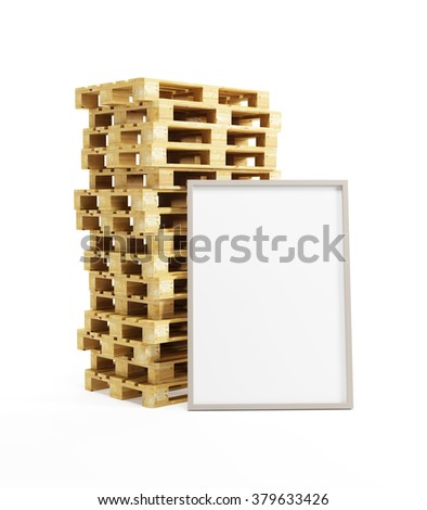 wooden pallets with blank billboard, isolated on white - stock photo