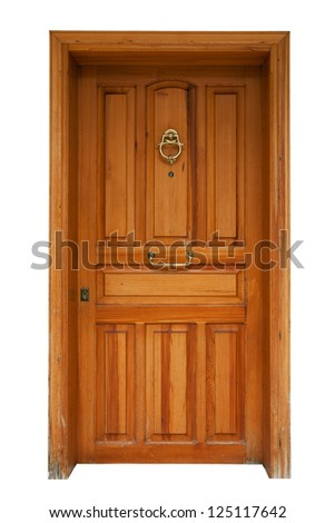 Wooden panel door with casing isolated on white background