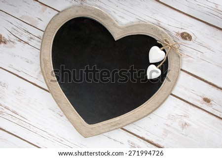 Wooden panel in heart shape / Wooden panel - stock photo