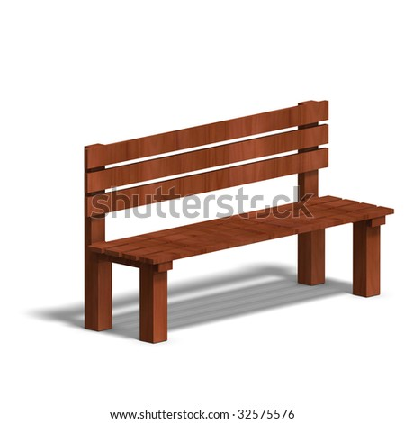 wooden park bench. 3D render with clipping path and shadow over white