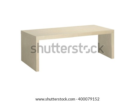 Wooden Park Bench Isolated on White Background - stock photo