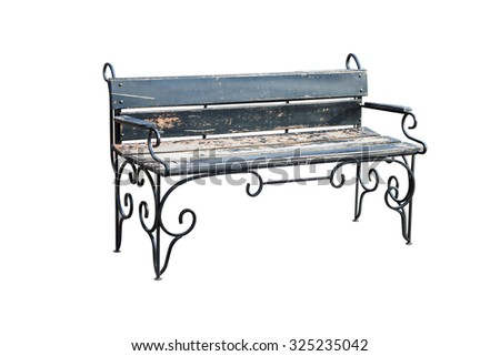 Wooden Park Bench Isolated on White Background with clipping path. - stock photo