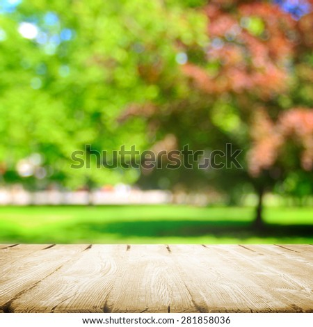 Wooden path in summer path - stock photo