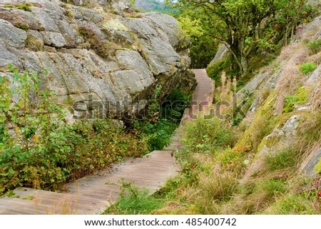 Wooden path through rocky terrain and vegetation.