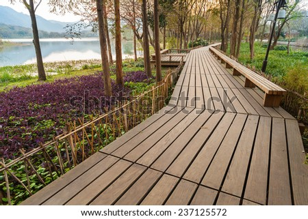 Wooden pathway on the coast. Walking around famous West Lake park in Hangzhou city center, China - stock photo
