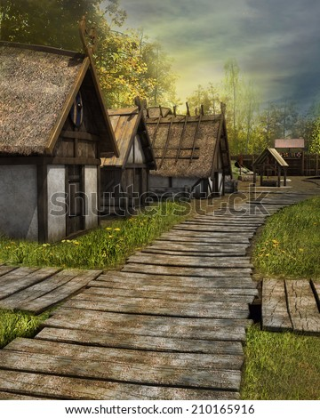 Wooden pavement in an old medieval village - stock photo