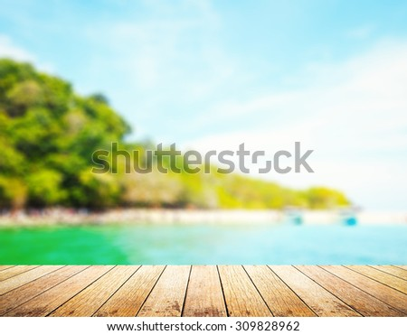 Wooden paving and blurred beautiful beach. International Mountain Day concept. Koh LIPE, Thailand, Asia. Backdrop, Wallpaper, Background, Concept, Idea, World Environment Day, Travel, Landscape, sea - stock photo