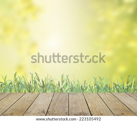 Wooden paving with grass and blurred colorful garden background. World environment day concept.