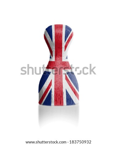 Wooden pawn with a painting of a flag, United Kingdom - stock photo