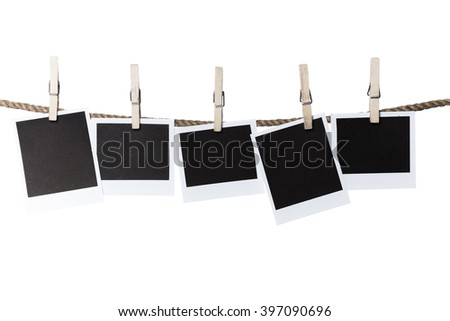 Wooden pegs on rope with copy space