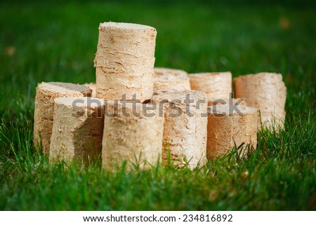 wooden pellets on green grass background - stock photo