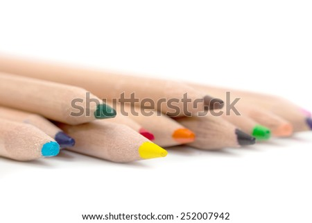 wooden pencils on white background - stock photo