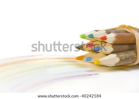 wooden pencils with rainbow including Clipping Paths
