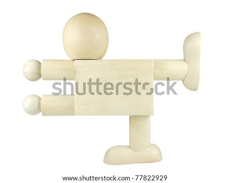 Wooden people posed as blank signpost - stock photo