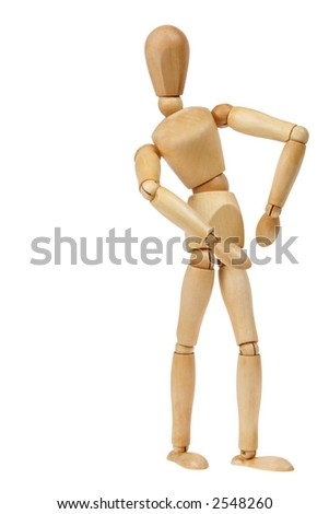 Wooden person gesturing an attitude, isolated white