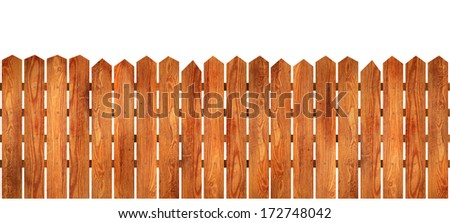 Wooden picket fence with natural wood pattern slats