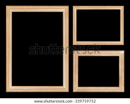 wooden picture frame isolated on black background