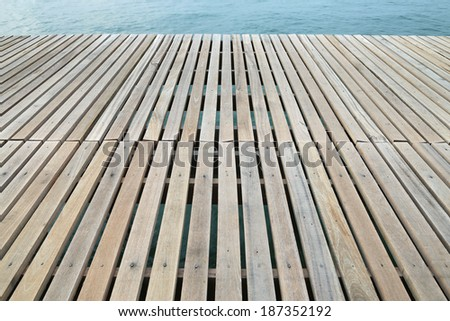 Wooden pier and morning sea view
